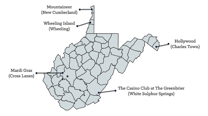 Map of West Virginia Casinos [West Virginia Slot Machine Casino Gambling in 2020]