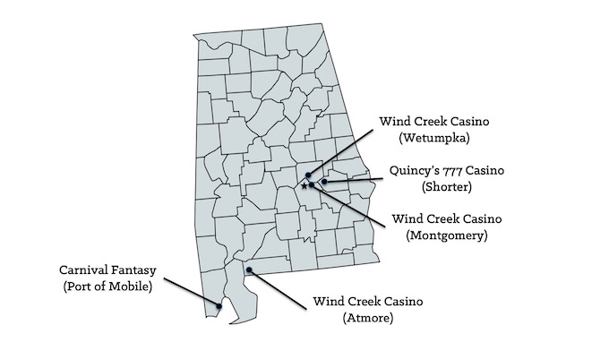 Alabama Casinos Map [Alabama Slot Machine Casino Gambling in 2020]