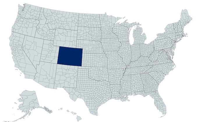 Colorado on a U.S. Map [Colorado Slot Machine Casino Gambling in 2020]