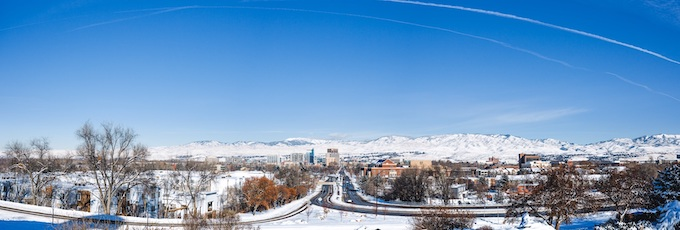 Boise in Winter Panoramic [Idaho Slot Machine Casino Gambling in 2021]