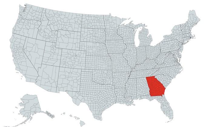 Georgia on a U.S. Map [Georgia Slot Machine Casino Gambling in 2021]