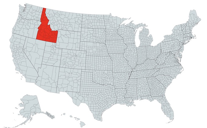 Idaho on a U.S. Map [Idaho Slot Machine Casino Gambling in 2021]