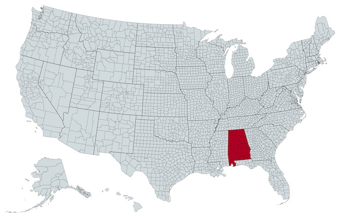 Alabama on a U.S. Map [Alabama Slot Machine Casino Gambling in 2020]