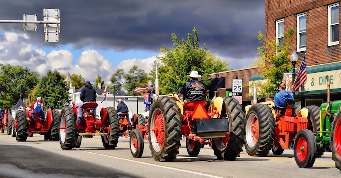 Parade with Antique Tractors in Elkhart [Indiana Slot Machine Casino Gambling in 2021]