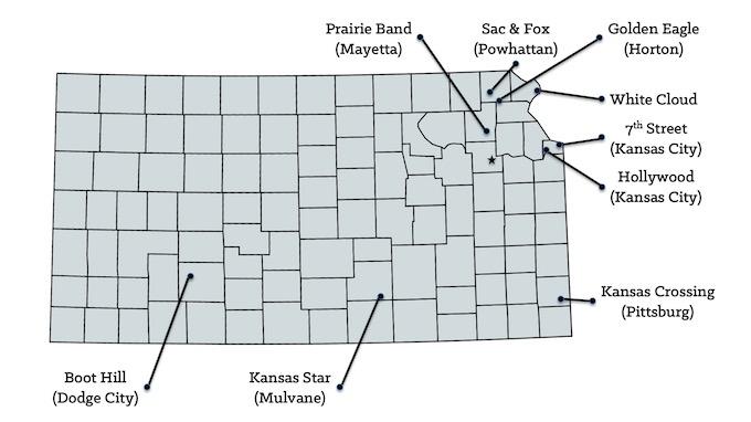 Kansas Casinos Map [Kansas Slot Machine Casino Gambling in 2021]