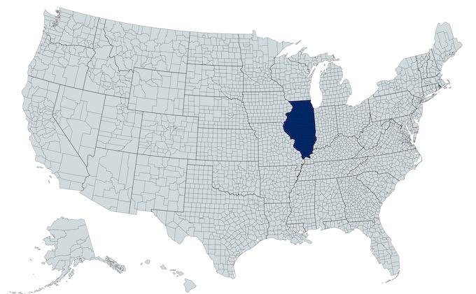 Illinois on a U.S. Map [Illinois Slot Machine Casino Gambling in 2021]