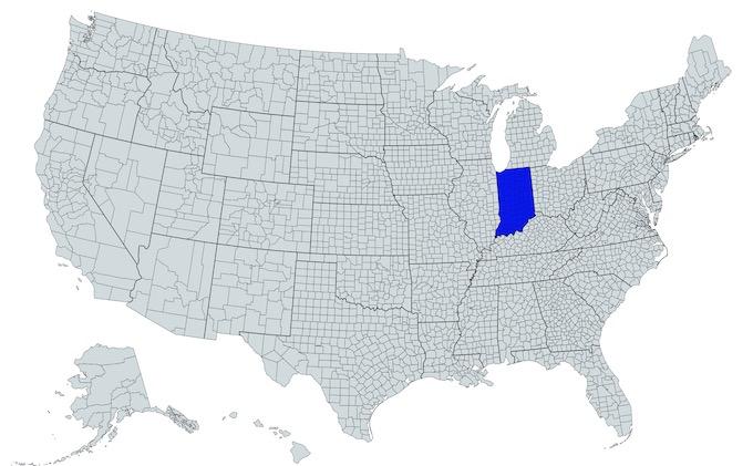 Indiana on a U.S. Map [Indiana Slot Machine Casino Gambling in 2021]