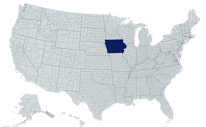 Iowa on a U.S. Map [Iowa Slot Machine Casino Gambling in 2021]