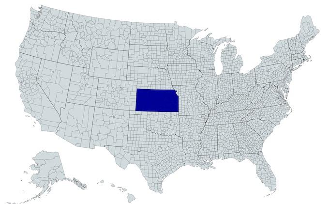 Kansas on a U.S. Map [Kansas Slot Machine Casino Gambling in 2021]