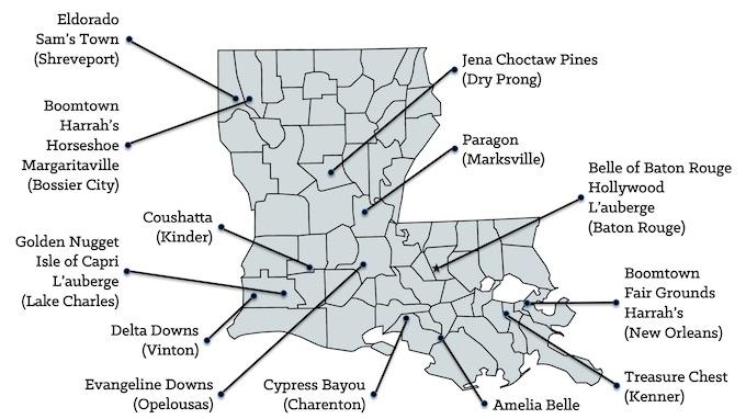 Louisiana Casinos Map [Louisiana Slot Machine Casino Gambling in 2021]