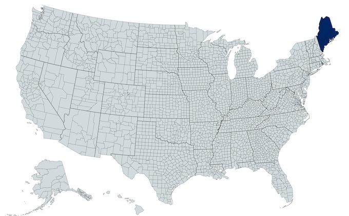 Maine on a U.S. Map [Maine Slot Machine Casino Gambling in 2021]