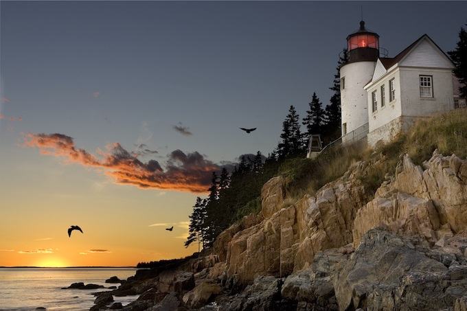 Lighthouse Atop Cliff at Sunset [Maine Slot Machine Casino Gambling in 2021]