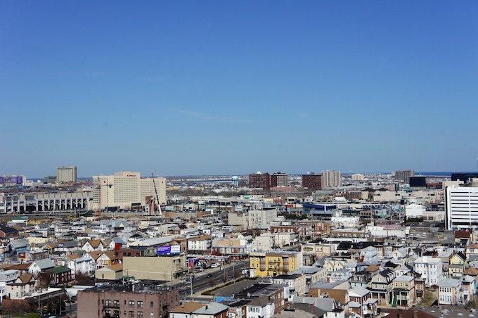Aerial View of Atlantic City Casinos and Housing [New Jersey Slots Return-To-Player 2021]