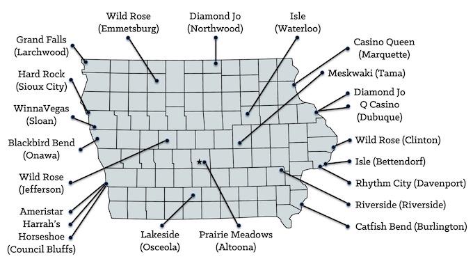 Iowa Casinos Map [Iowa Slot Machine Casino Gambling in 2021]