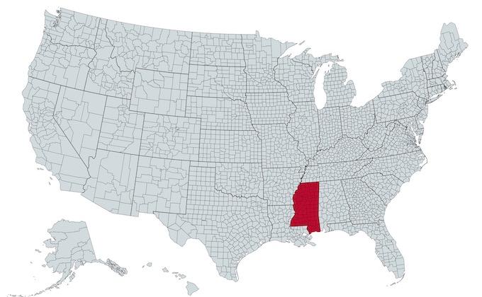 Mississippi on a U.S. Map [Mississippi Slot Machine Casino Gambling in 2021]