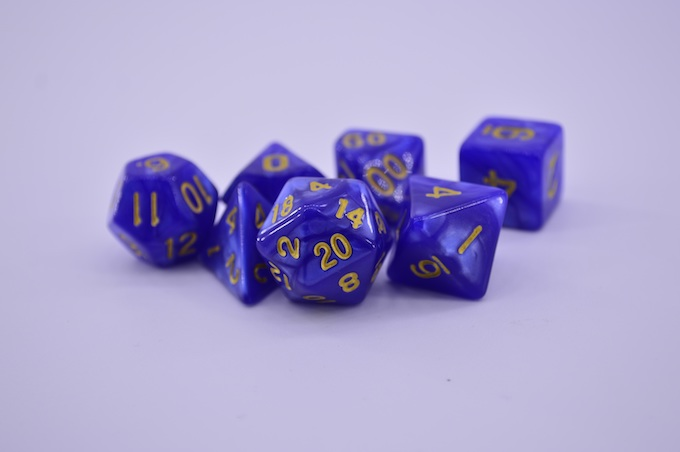 A set of 4-, 6-, 8-, 10-, 12-, and 20-Sided Gaming Dice [Roulette Wheels]