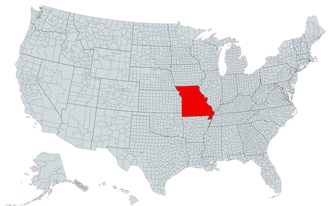 Missouri on a U.S. Map [Missouri Slot Machine Casino Gambling in 2021]