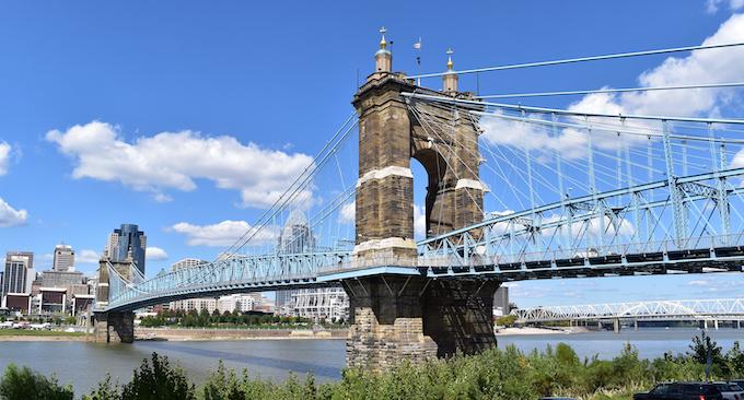 Roebling Suspension Bridge in Cincinnati [Miami Valley Gaming]