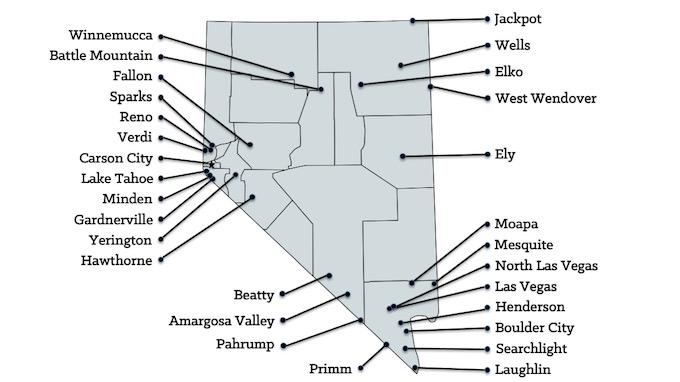 Nevada Casinos Map [Nevada Slot Machine Casino Gambling in 2021]