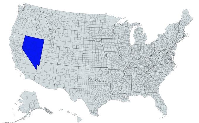 Nevada on a U.S. Map [Nevada Slot Machine Casino Gambling in 2021]