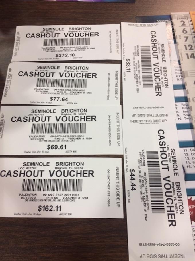 Winning Vouchers [Seminole Brighton Casino]
